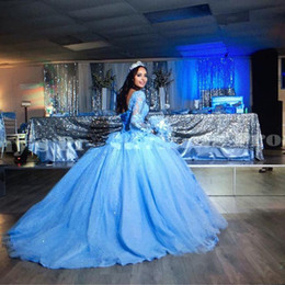 $enCountryForm.capitalKeyWord Australia - Princess Ball Gown Quinceanera Dresses Sweetheart Flare long Sleeve Lace Appliques Pink blue Sweet 16 Dresses Puffy Tulle Prom Dresses Gowns