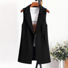 $enCountryForm.capitalKeyWord Australia - Elegant Suit Vest Women Spring Summer Sleeveless Long Vest Jacket Colete Plus Size 3XL Blazer Coat Waistcoat Outerwear R858