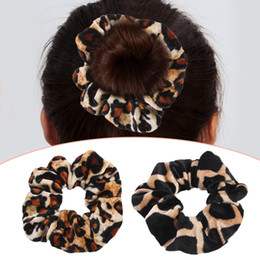 Discount hair rubber band soft - Hot Sale Rubber Band Soft For Women Winter Leopard Print Ponytail Accessories Girls Hair Ring Headwear Hair Rope Female