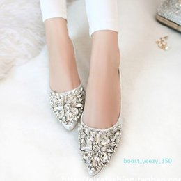 flat silver crystal wedding shoes UK - Fashion Women Ballet Shoes Leisure Spring Pointy Ballerina Bling Rhinestone Flats Shoes Princess Shiny Crystal Wedding b35