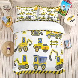 $enCountryForm.capitalKeyWord Australia - Yi chu xin kids bedding sets luxury Cartoon engineering vehicle duvet cover set single size Microfiber Fabric bed set