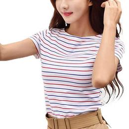 Colorful Tees Australia - Volocean Cotton T-shirt Striped Classic Bottom T-shirts For Women Colorful T Shirt Woman Plus Size Female Top Tee 5xl Q190518