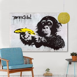 $enCountryForm.capitalKeyWord Australia - Chimpanzee Holding A Banana Hand Painted &HD Print Home Wall Decor Banksy Graffiti Art Oil painting on High Quality canvas Multi Sizes G160
