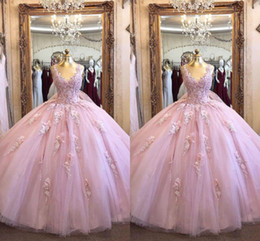 cheap red coral beads UK - Fashion Rose Pink V neck Quinceanera Prom Dresses Cheap Designer 3D Floral Flowers Tulle Applique Beaded Evening Sweet 15 Dress Long