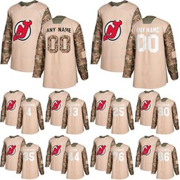 brodeur jersey xl Australia - New Jersey Devils Camo Veterans Day Practice jerseys 86 Jack Hughes 30 Martin Brodeur 13 Hischier custom any number any name hockey jersey