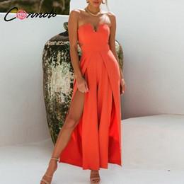 Orange Jumpsuits Australia - Conmoto Casual Orange Off Shoulder Jumpsuit Women 2019 Stylish Wide Leg Jumpsuit High Waist Hollow Out Plus Size Long Rompers Y19051601