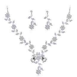 $enCountryForm.capitalKeyWord UK - 2019 New Arrival Full Clear Austrilia Crystal Jewelry Sets Lovely Flower Shape Earrings Long Pendant Necklace Jewelry Sets For Women