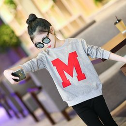 Trends Clothing Australia - Baby Girl Clothes 2019 Spring Girls New Chinese Mid Korean Fashion Trendy T-shirt Personality Trend Shirt Cartoon Sports Sweater