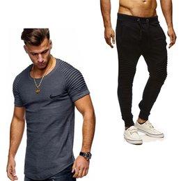 Elastic Army Shirt Australia - 2019 pleated T-shirt+Pants Men's Sets brand Print Men Brand Clothing Two piece suit Men Sportswear Tracksuit Gyms Jogger Sets