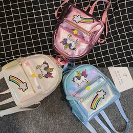 Discount cartoon animals backpacks students - fashion 2019 new arrival cartoon cute laser unicorn girls embroidery personality animal small backpack student bookbag