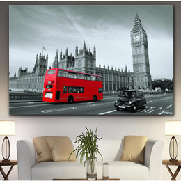 street art canvas prints NZ - YUMEART Big Ben New York City Red Bus and Street Tower of London Canvas Painting Posters and Prints Wall Art Home Decoration
