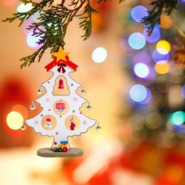 $enCountryForm.capitalKeyWord Australia - 1PC Lovely Wooden Christmas Tree Small Bell Christmas Tree Painting Pendants DIY Xmas Ornaments Decoration Kids Gift