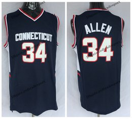 627923c57973 Basketball Jersey 34 Canada - Mens Connecticut Huskies RAY ALLEN College Basketball  Jerseys Home Blue Vintage