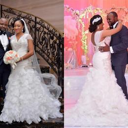 $enCountryForm.capitalKeyWord Australia - African Plus Size Mermaid Wedding Dresses Cap Sleeves Organza Tiered Ruffles Corset Back Formal Bridal Gowns Beads Wedding Party Gowns