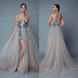 Pictures Berta Prom Dresses Australia - 2019 Berta Overskirt Backless Evening Dresses Beaded Deep V Neck Sequined Side Split Prom Gowns Tulle Plus Size Pleated Formal Dress