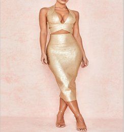 5e9f482bd9 Club Factory Dresses NZ - Free shipping 2019 factory price gold stamping  women bandage dress rayon