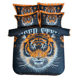 3d 4pc Quilt Bedding Set UK - Bedding Set 4PC Trend Fashion Bully Tiger Head Boys Quilt Cotton Bedding