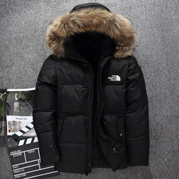 Wholesale men cotton parka for sale – warmest winter New The North Men s clothing Winter Jacket Parka Warm Goose Down Coats Soft shell fur collar Hats thick outdoor outerwear Face jackets