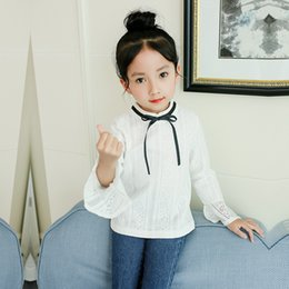 $enCountryForm.capitalKeyWord NZ - Black Bow Tie White Girls Shirts for School 2019 O-neck Girl Blouses Solid Tops Teenager Kids Children Clothing Clothes Bs070