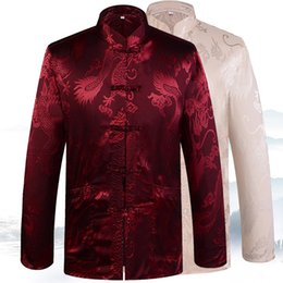 pink chinese dragon NZ - New Male Long Sleeve Clothing Men Chinese Traditional Shirt Satin Dragon Tang Top Mandarin Collar Coat Oversize 3XL 4XL