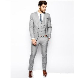 Wedding Vest Pink Australia - 2019 fashion Groom Tuxedos gray Business Suits Classic Business Suit Blazer wedding Fashion Men Bridegroom suit Jacket+Pant+vest