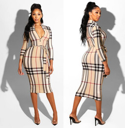Model long dress casual online shopping - cross border explosion models Europe and the United States foreign trade women s plaid long sleeved dress nightclub dress belt belt