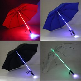 Light up umbreLLas online shopping - 7 Color LED Lightsaber Light Up Umbrella Laser Sword Light Up Golf Umbrellas Changing on The Shaft Built In Torch Flash Umbrella