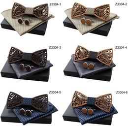 $enCountryForm.capitalKeyWord Australia - Oeientree Romantic Hollow Wood Bow ties Bowtie with handkerchief Cufflinks For Men New Design Christmas gift