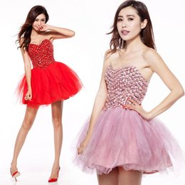 $enCountryForm.capitalKeyWord NZ - A-Line Red Short Prom Dresses Pink Bra Straps Heavy Handmade Fashion Spring Summer Party Back To School Cocktail Small Dresses