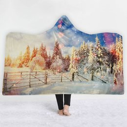 $enCountryForm.capitalKeyWord Australia - Christmas Tree Deer Elk Pine Nut Pattern Blanket Sherpa Fleece Soft Winter Bedding Wearable Hooded Blanket Cobija Cobertor