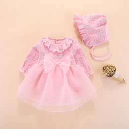 newborn baby girl princess clothing NZ - Long Sleeve Girls Dress Princess And Wedding Baptism Kids Dresses Newborn Baby Girl Clothes Pink Set With Hat Lace Style Q190518