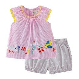 $enCountryForm.capitalKeyWord Australia - kids designer clothes girls Summer sets 100% Cotton girl Stripped rabbit or birds print elegant casual t shirt + Polka dots short 2-7T
