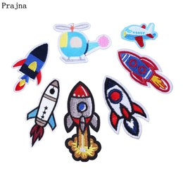 Diy Boys Toys UK - Prajna Embroidered Patches Cocket Truck Iron On Patch UFO Stickers Embroidery Stickers For Boy Clothing DIY Jeans Toy Appliques