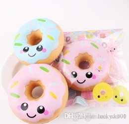 blue pink toys Canada - UK Lucky Squishy Doughnut Slow Rising Decompression Toys Jumbo Food Bread Cake For Kids Adults Blue Pink Stress Relief Toy DHL