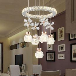 $enCountryForm.capitalKeyWord Australia - Modern ring light chandelier led Light Cristal Lustre Crystal Chandeliers plafondlamp Lighting Pendant Hanging Crystal fixture