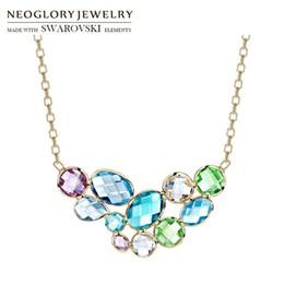 Necklaces Pendants Australia - Neoglory Austria Crystal Long Pendant Charm Necklace Colorful Geometric Design Champagne Gold Color For Women Brand Gift Y19050802