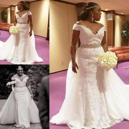 $enCountryForm.capitalKeyWord Australia - Plus Size Mermaid Wedding Dresses Lace Off Shoulder Beaded Bridal Gowns South African Tulle Sweep Train Wedding Gowns Custom Made