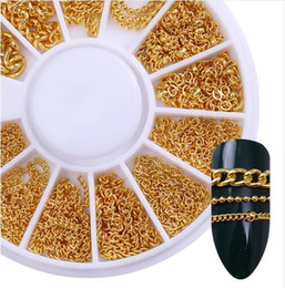 $enCountryForm.capitalKeyWord Canada - 3D Metal Nail Art Decoration Gold Metal Chain Beads Line Multi-size Snake Bone DIY Manicure Nail Art Decoration in Wheel 1 Box