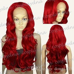 $enCountryForm.capitalKeyWord NZ - New High Quality Fashion Picture full lace wigs>>Lace Front Dark Red Long Wavy Curly Cosplay Wigs Hair