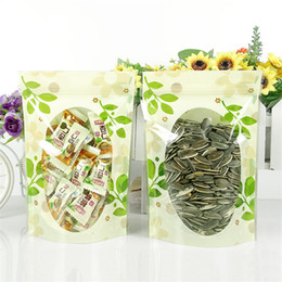 $enCountryForm.capitalKeyWord UK - 1000pcs lot 12*20cm Snack Tea Candy Storage Clear Poly Valve Packaging Pouch Heat Seal Green Leaf Ziplock Resealable Bag