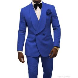 $enCountryForm.capitalKeyWord Australia - Royal Blue Men Wedding Tuxedos Embossing Groom Tuxedos Fashion Men Blazer 2 Piece Suit PromDinner Jacket Custom Made(Jacket+Pants+BowTie) 16