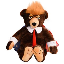 AmericAn toys online shopping - Donald Trump Doll Bear American National Flag Bears cm Kid Plush Toy Lovely Brown Funny Gift Fashion jc C1