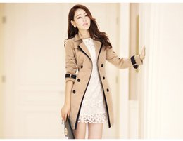 $enCountryForm.capitalKeyWord Australia - Women Autumn Double Breasted Long Trench Coat Khaki With Belt Classic Casual Office Lady Business Outwear Fall