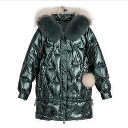 winter shiny jacket UK - Winter Duck Jacket Women Hooded Big Fur Collar Puffer Coat Korean Shiny Womens Down Jackets Parka