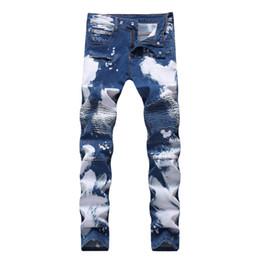 $enCountryForm.capitalKeyWord UK - Biker Designer Men\'s Jeans Slim Fit Elastic Ruched Long Skinny Jeans Men\'s Double Color Jeans For Sales