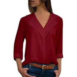 696c14539 Camisa Sólida de las mujeres Blusas de Gasa Femininas Tops Manga 3 4  Elegante Señoras Formales Blusa de Oficina Más Tamaño Camisa con cuello en  v ropa
