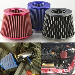 Wholesale RED Yellow Blue quot Air Intake Filter Cleaner mm Universal quot Car Air Filter Clean Intake High Flow Short RAM COLD Round Cone