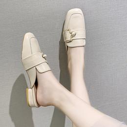 $enCountryForm.capitalKeyWord Australia - Women's Slippers 2019 Cover Toe Low Square heel Mules Womens Shoes Socofy Luxury Slides New Block Soft Designer PU Buckle Strap
