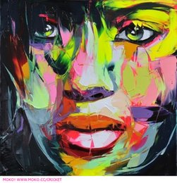 Square Figure Australia - Hand painted Palette knife painting portrait Palette knife Francoise Nielly Face Abstract Oil painting Impasto figure on canvas Decor FN92