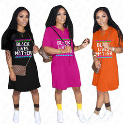 Wholesale bohemian t shirts for online – design 2020 BLACK LIVES MATTER Oversize T shirt Designer Dress for Women Lady Summer Loose Letters Prining Dresses Casual Sport Beach Cloth D61803